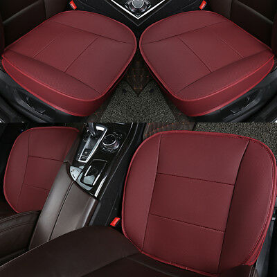 3D PU Leather Deluxe Car Cover Seat Protector Cushion Red Front Universal