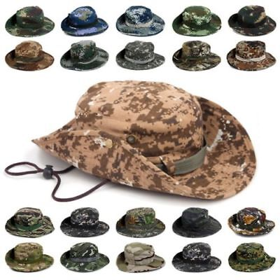 Tactical Military Boonie Hat Men Wide Brim Camping Hiking Hunting Camo Sun Caps