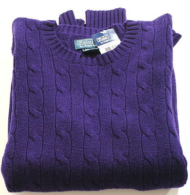 Polo Ralph Lauren Dark Purple 100%Cashmere Cableknit Sweater 14-16  $250 F2D
