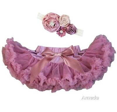 Newborn Baby Girl Pettiskirt Tutu & Rose Flower Headband 2pcs Outfit Dress