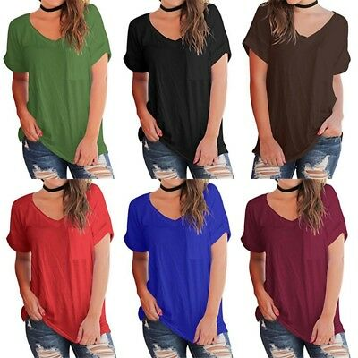 5976a21aefa29 Womens Summer Basic Tops Loose Short Sleeve T Shirt With Front Pocket Solid  Soft