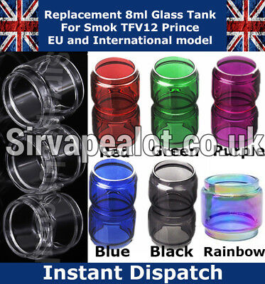Smok TFV12 PRINCE 8ml Replacement Bubble Pyrex Glass tank 6 Colours RAINBOW