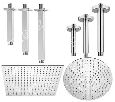 Brass Fixed Shower Head Arm & Ceiling Mount - Square & Round - Chrome