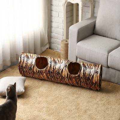 2 Holes Pet Cat Tunnel Tiger Print Outdoors Collapsible Crinkly Play Toys 130CM
