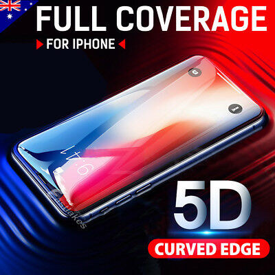5D Full Cover Tempered Glass Screen Protector For Apple iPhone X 8 7 6s Plus 5s