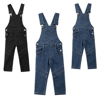 Baby Girls Toddler Trousers Kids Long Dungaree Overall Jumpsuit Playsuit Jeans
