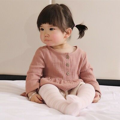 Kids Baby Girls Long Sleeve Cotton Linen Blouse Tops Princess Casual Mini Dress