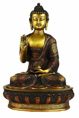 Indian Antique Hand Carved Buddha Bronze Statue Brass Tibet Shakyamuni 13""