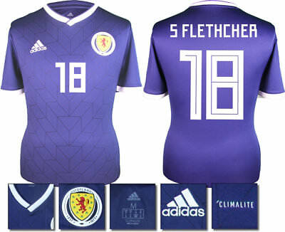 S Fletcher 18 - Scotland Home 2018 Adidas Shirt Ss = Kids