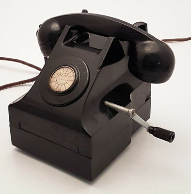 Vintage Collectible Black Bakelite Without Dial Magneto ITI Antique Telephone.