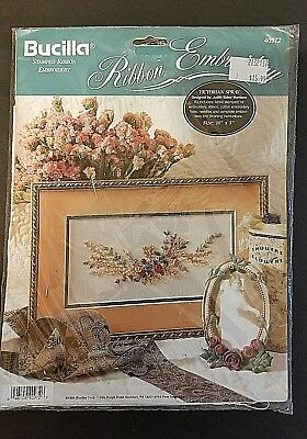 BUCILLA STAMPED RIBBON EMBROIDERY KIT 40972 VICTORIAN SPRAY 1994 Sealed