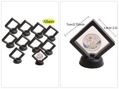 Coin Display Box -3D Stands Floating Frame Display Holder Jewelry Set of 10 NEW