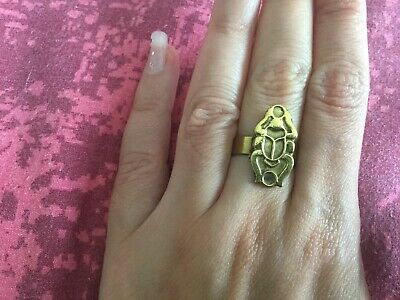 "Unique Adjustable Egyptian Brass""Scarab For Luck"" 1"" Ring Handmade In Egypt!!WOW"