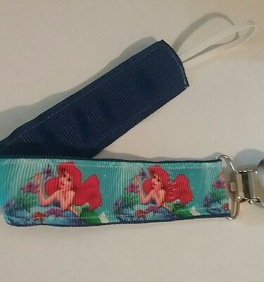BABY GIRL Pacifier Clip Holder Leash Ariel The Little Mermaid Blue Ribbon