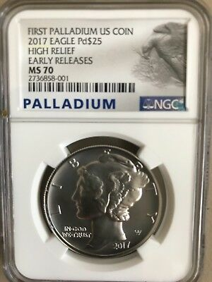 2017 1 Oz. Palladium American Eagle $25 High Relief NGC MS70 ER (Early Release)