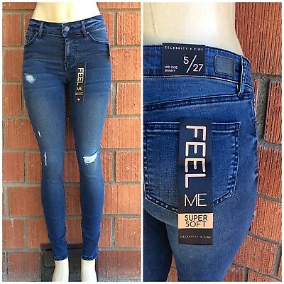 CELEBRITY PINK Super Soft Dark Rinse Ripped Mid Rise Skinny Jean Retail $52.99