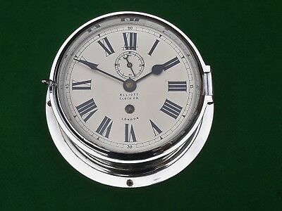 Elliott Chrome Ships/bulkhead Wall Clock