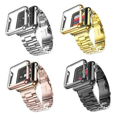 Stainless Steel Wrist Band Strap Case Cover For Apple Watch iWatch 38mm/42mm