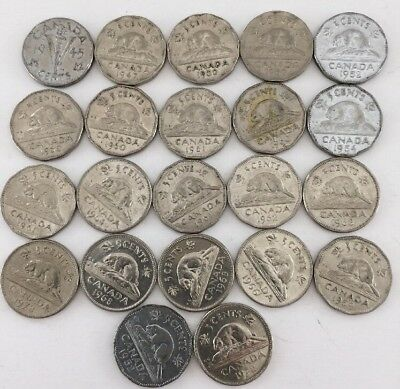 Lot Canada Large 5 Five Cents Nickel Circulated Canadian Maple Leaf Coin 45,47..