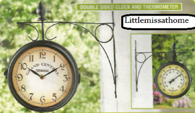 2 Sided Garden Clock & Thermometer * Wall Fence Outdoor Station Swivel Double