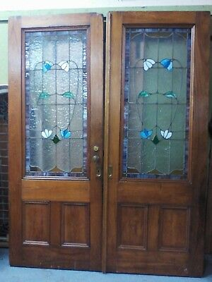 Antique Victorian Leaded Glass Pocket Doors With Stained Glass
