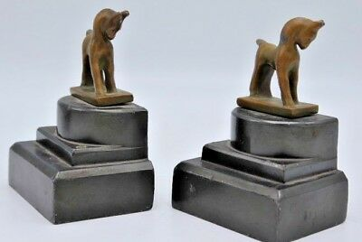 """Vintage Pair of Miniature Horse / Pony Brass Bookends on Black Metal Base ~ 4"""""""