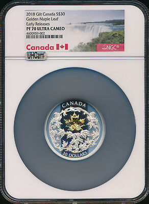 2018 CANADA GOLDEN MAPLE LEAF 2 oz Proof Silver Gilt $30 NGC MAC PF70