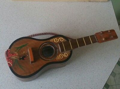 Vintage Guitar Shaped Musical Jewellery Box