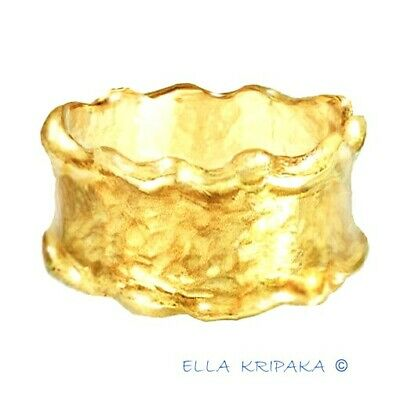 Solid 22k Gold Ring Curved 11g 10mm Baroque Byzantine Unisex Also Wedding Custom