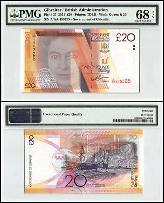 Gibraltar 20 Pounds, 2011, P-37, Queen Elizabeth II, Battle of Trafalgar, PMG 68