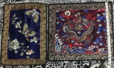 2 Antique Chinese Hand Embroidery Wall Hanging Scenery Panel