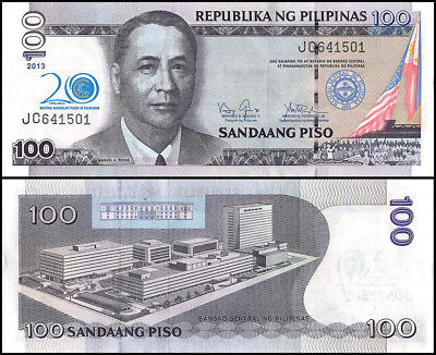 Philippines 100 Piso Banknote, 2013, P-218, UNC, 20 Years Bangko Sentral