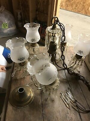 Antique Vintage Crystal Chandelier  Arm Light Prisms Ceiling Fixture