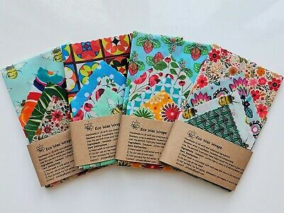 100% Natural Reusable Beeswax Food Wrap-Set of 4  (Large selection of patterns)