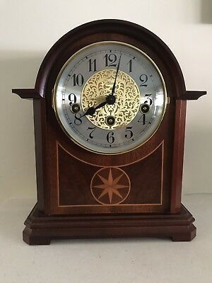 Hermle Edwardian Style Westminster Chime Clock Inlaid Mantle Silent Lever