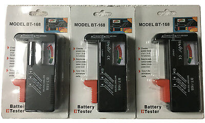3 X Battery Tester, Universal Battery Checker for AA AAA C D 9V 1.5V Button Cell
