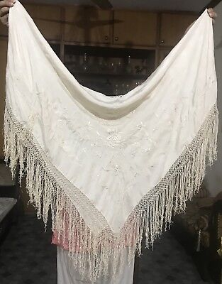 Antique Chinese Hand Embroidered Silk Piano Shawl Pure Silk