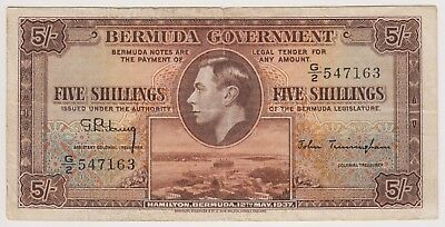 British Bermuda Banknote 5 Shillings 1937 P8b VF King George Rare Currency