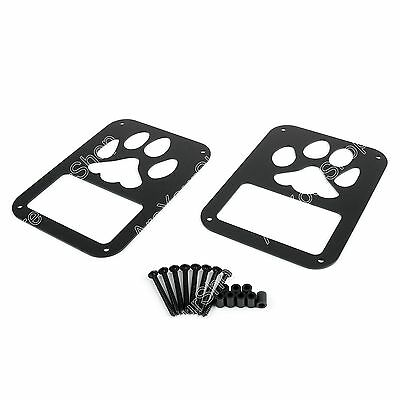 Pair Rear Taillight Cover Guard Dog Paw Print For 07-16 Jeep Wrangler JK