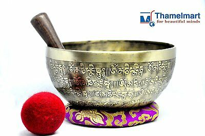 """9""""Fine Etching Hand made singing bowl with cushions and Mallet,Real handmade"""