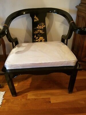 Oriental Accent Black Arm Chair Set of 2