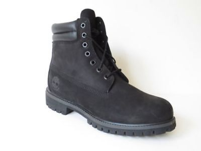 Timberland Mens Black 6 Inch Double Sole Premium Leather Work Boots Style 73541
