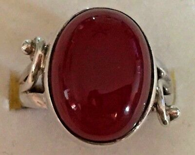0587:  Vintage Sterling Silver Ring with Oval Carnelian Stone, Size 7.75