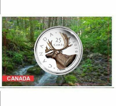 2016 Canadian 25 Cents Coloured Caribou