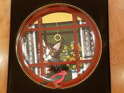 "NIB Anna Perenna ""Walter's Window"" Art Plate Uncle Tad's Cats Cat Lover COA NEW"