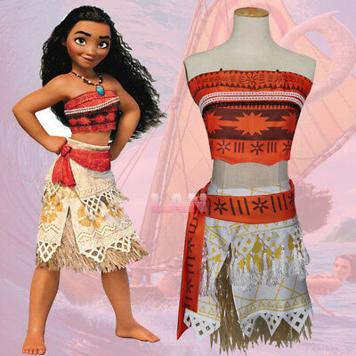 Clothing, Shoes & Accessories Princess Moana Costume Girls Adventure Cosplay Dress Costume Set With Necklace Costumes, Reenactment, Theater