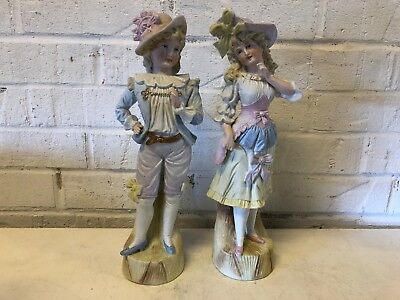 Vintage Possibly Antique Victorian Man and Woman Bisque Pair of Figurines