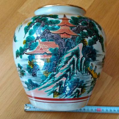 Antique Kutani Vase pine triple tower Japan retro popular beautiful EMS F/S!