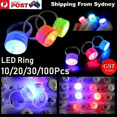 10-100x LED Flashing Ring Finger Shiny Fashion Party Light up Glow in the dark