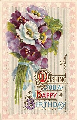 Postcard Wishing You Happy Birthday Purple Flower Bouquet Vintage Embossed Pc